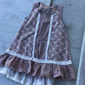 Brown lace ruffle altard state dress